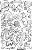 Icons set  with doodle space elements.  Illustration with hand drawn doodle space elements for wallpaper, wrapping, textile prints Stock Photo