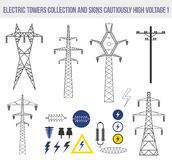 Icons set with electric towers isolated on white background. Royalty Free Stock Photo