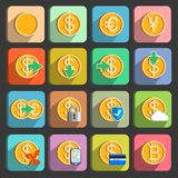Icons set for electronic payments and transactions. UI design in gold isolated vector illustration Stock Image