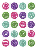 Icons set 20 emotional and kids smiles in circle. Without shadow Royalty Free Stock Photos