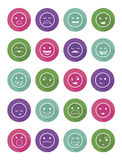 Icons set 20 emotional smiles in circles. With differents colors Stock Photos