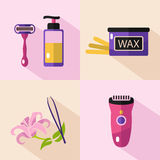Icons set of epilation tools Royalty Free Stock Images