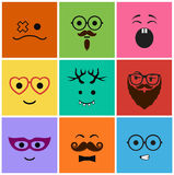 Icons set faces and characters Royalty Free Stock Photo