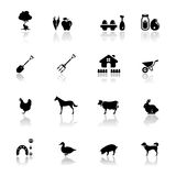 Icons set farm Stock Photos