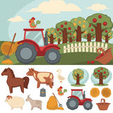 Icons set farm and farming. Icons set of farm and farming. Vector farmer symbols: livestock, tractor and hay, fence and fruit garden. Village landscape and Stock Images