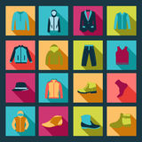 Icons set of Fashion elements man clothing Stock Photography