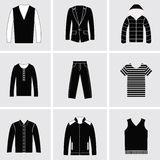 Icons set of Fashion elements men clothes Stock Photo