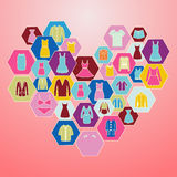 Icons set of fashion Men's and Women Clothes Royalty Free Stock Photo