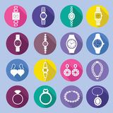 Icons set with fashion watches and jewelry in flat style Stock Photo