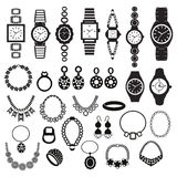 Icons set with fashion watches and jewelry Royalty Free Stock Photos