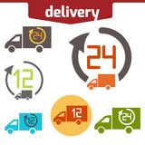 Icons set of Fast delivery. The business. icar and arrow solated on white background stock illustration