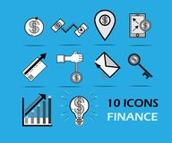 10 icons set finance business.  Royalty Free Stock Photography