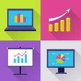 Icons set with finance diagram. Finance icon set. Modern icons with finance diagram, chart with arrow, graph and growth. Interface elements in flat design with Royalty Free Stock Photography