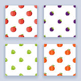 Icons set flat design fruit seamless pattern  isolated vector illustration Stock Photography
