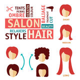 Icons set in flat design style with hair treatment, steps to prevent hair falling. hair salon icon Stock Image