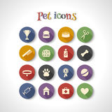 Icons. Set of 16 flat icons with long shadows. Dog, pet, vet royalty free illustration