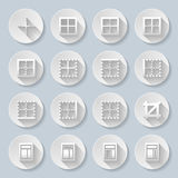 Icons. Set of flat round icons on the gray background Stock Image