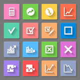 Icons. Set of flat square  icons with diagrams on the gray background Royalty Free Stock Photography
