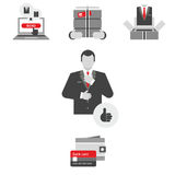Icons set in flat style for the online men`s clothing store Stock Photography