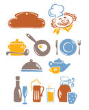 Icons set - the food and utensils Royalty Free Stock Photo