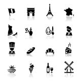 Icons set French Cuisine and culture Stock Photos