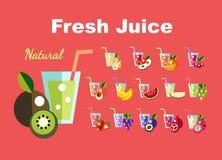 Icons set Fresh juice, fruit cocktail Royalty Free Stock Photography