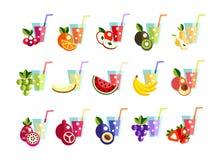 Icons set Fresh juice, fruit cocktail Stock Photo