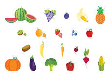 Icons set fruits and vegetables vector illustration