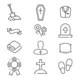 Icons set for funeral agency. Line symbols  on white background. Royalty Free Stock Photo