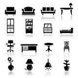 Icons set furniture Stock Photos