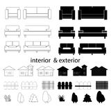 Icons set furniture interior and exterior Royalty Free Stock Photo