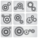 Icons set of gear wheels Stock Photography