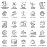 Icons set global business, economics and marketing. The thin contour lines Royalty Free Stock Photo