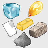 Icons set of gold, ore and other materials. Vector set of six icons of gold, ore and other materials Stock Image