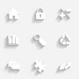 Icons set gray Stock Photography