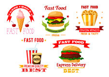 Icons set of greasy and unhealthy fast food Stock Images