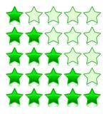 Icons Set of green stars. Vector illustration. Icons Set of glass green stars. Vector illustration Vector Illustration