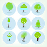 Icons set green trees Royalty Free Stock Photos