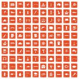 100 icons set grunge orange. 100 bridge icons set in grunge style orange color isolated on white background vector illustration stock illustration
