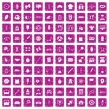 100 icons set grunge pink. 100 libra icons set in grunge style pink color isolated on white background vector illustration royalty free illustration