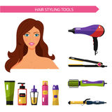 Icons set of hair styling tools Royalty Free Stock Image