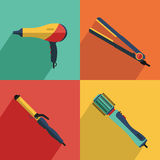 Icons set of hair styling tools icons. Flat vector cosmetics icons set of hair styling tools for website in pastel colors. Hairdryer, hair curler, hair Stock Photography