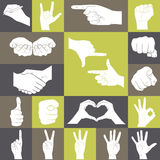 Icons set of hands showing different gestures Stock Photo