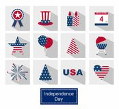 Icons Set Happy independence day line icons United States of America, 4 th of July Stock Photos