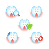 Icons set of healthy and diseased teeth Stock Image