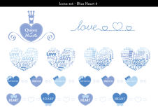 Icons set of hearts with blue color theme - 3. A set of icons of hearts with blue color theme Royalty Free Stock Image