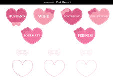 Icons set of hearts with pink color theme - 2. A set of icons of hearts with pink color theme Royalty Free Stock Images