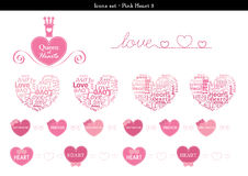 Icons set of hearts with pink color theme - 3. A set of icons of hearts with pink color theme Stock Photos