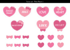 Icons set of hearts with pink color theme - 1. A set of icons of hearts with pink color theme Royalty Free Stock Image