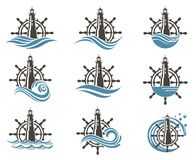 Icons set of helm and lighthouse vector illustration